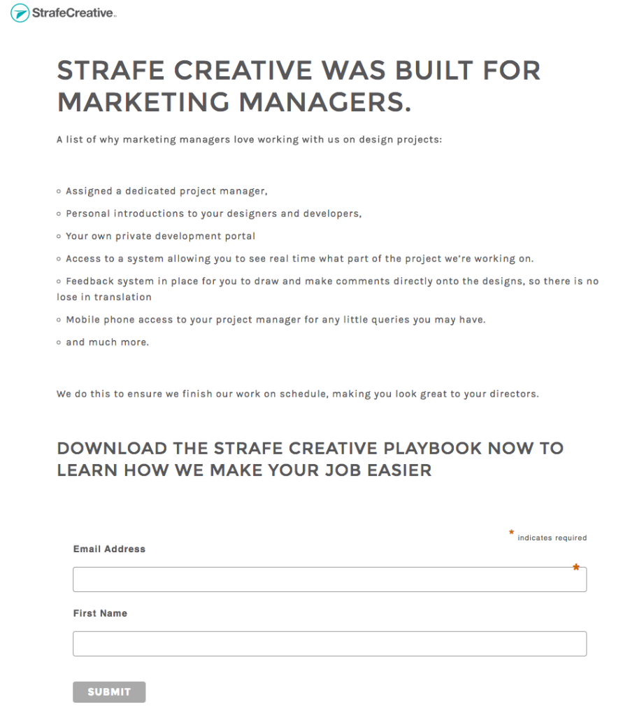 landing page example of growth idea